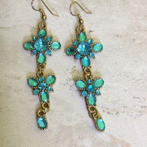 "3/$30 India turquoise 3"" drop earrings"